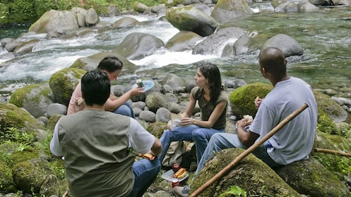 group having lunch next to the creek in Costa Rica