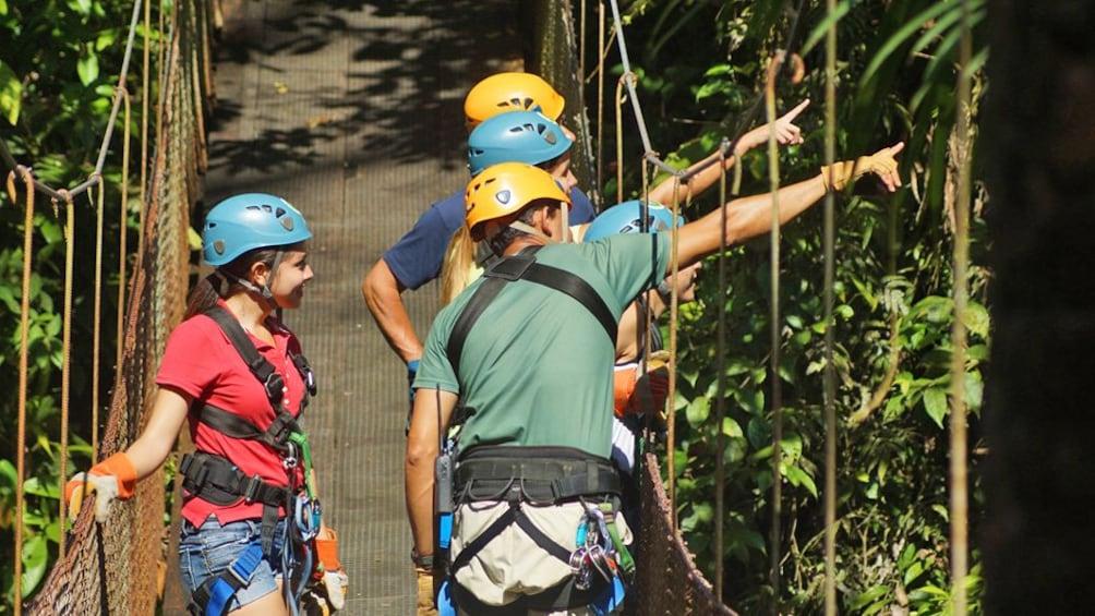 Show item 10 of 10. group crossing a rope suspension bridge in Costa Rica