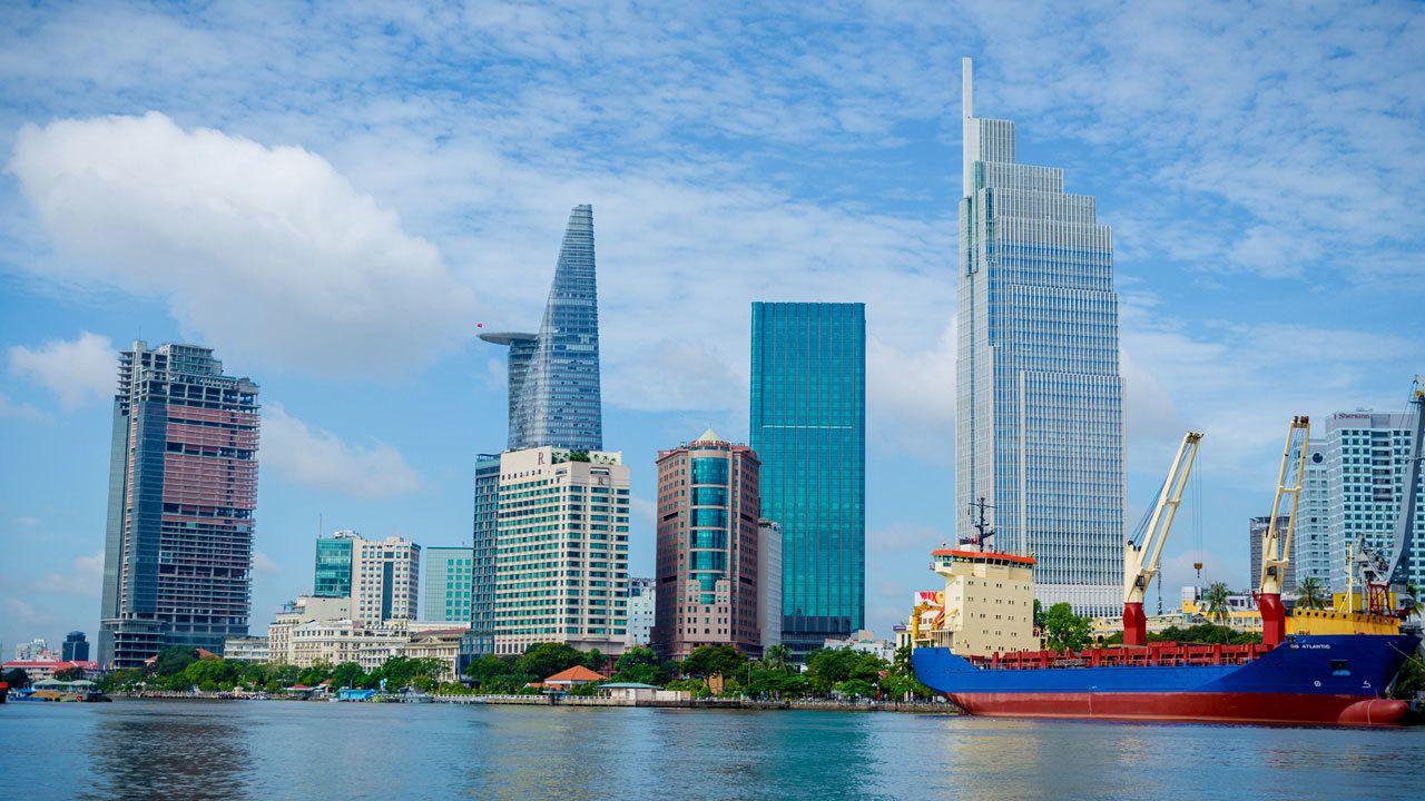 View of cityscape in Ho Chi Minh City in Vietnam