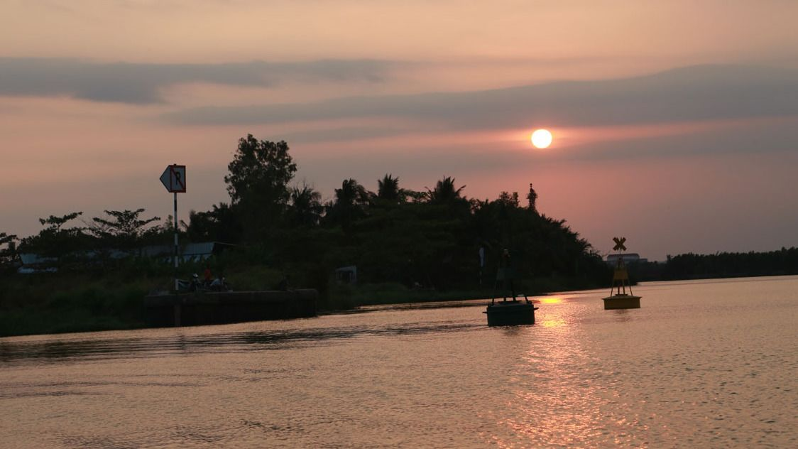 Sunset on river in Ho Chi Minh City
