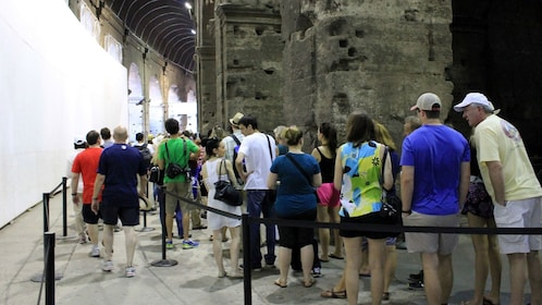 People waiting in line at the Colosseum