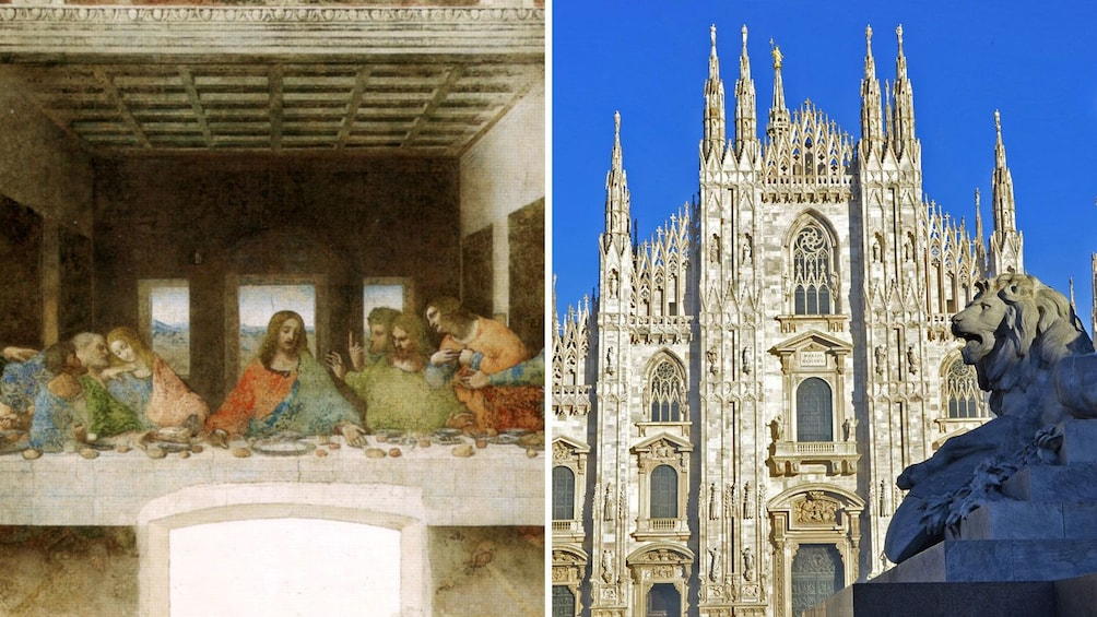 Cargar ítem 1 de 8. Split image of the Last Supper and the Cathedral of Milan