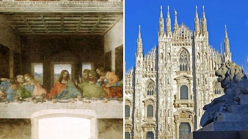 Split image of the Last Supper and the Cathedral of Milan
