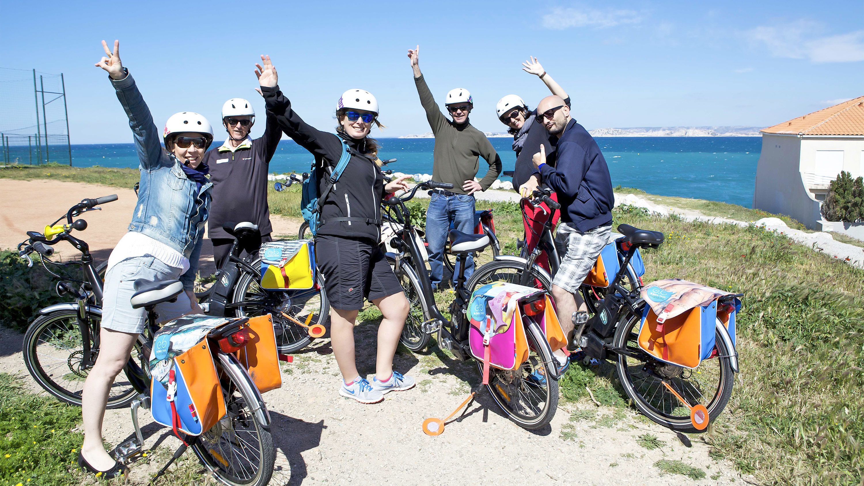 Group having fun on the Marseille Half-Day Electric Bike Tour