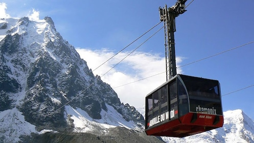 Gondola leading up the mountain in Chamonix