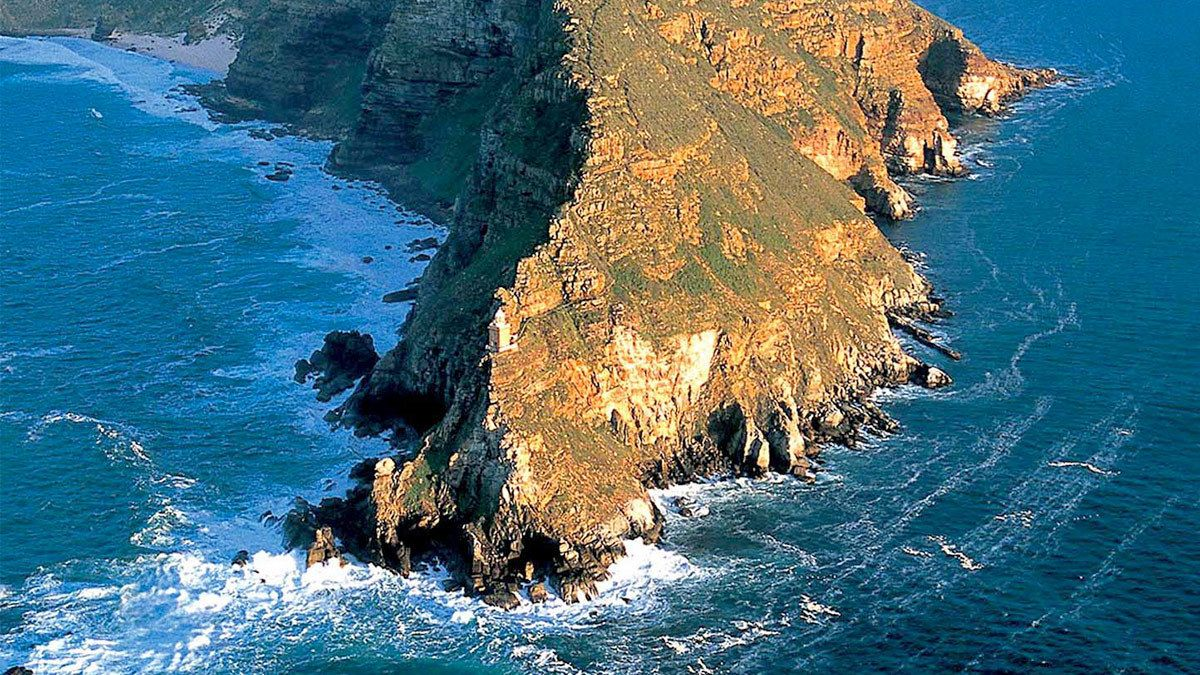Aerial view of beautiful Cape Peninsula in South Africa