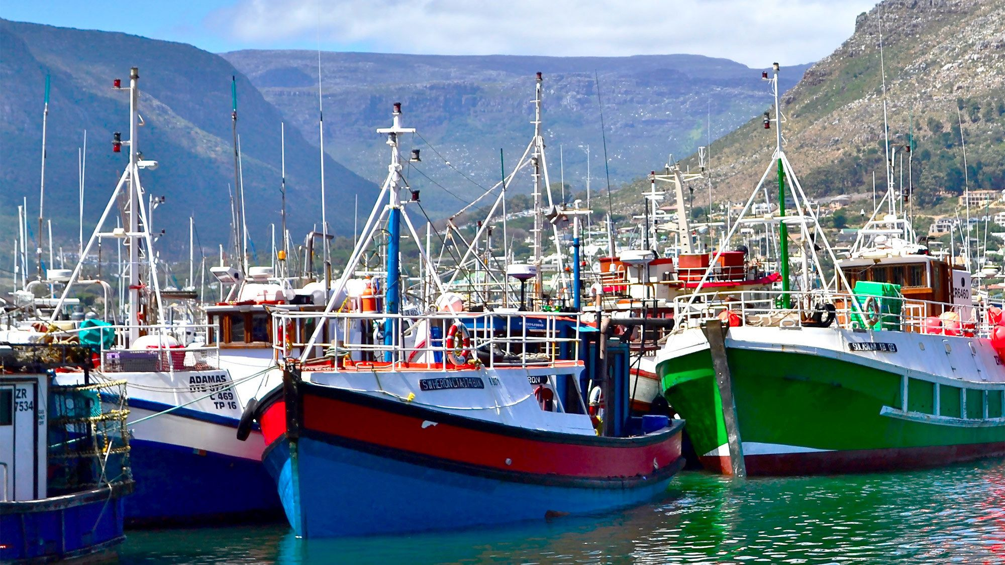 Colorful boats at the Cape Peninsular in South Africa