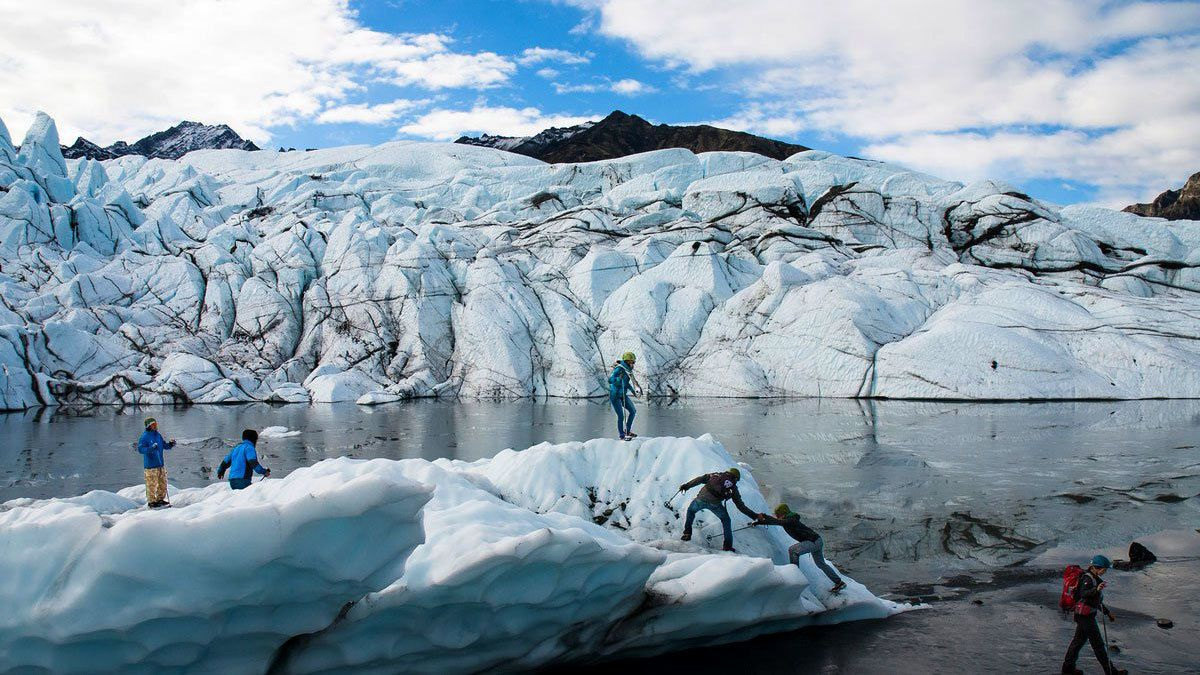Climbers on a glacier in Alaska