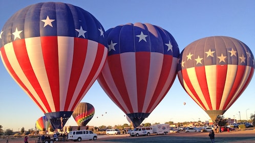 three American flag themed hot air balloons in Albuquerque