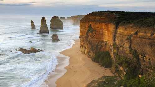 Seaside cliffs and rocks formations along the Great Ocean Road in Australia