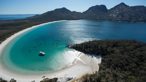 Aerial view of wineglass bay in Australia