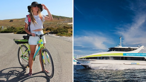 Combo image of bicycle rental and ferry trip in Perth