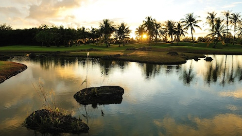 Large pond at sunset in Guam