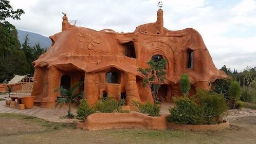 Historic terracotta building in Villa de Leyva