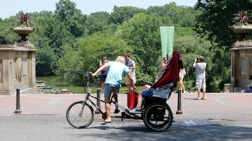 Pedicab near a lake in Central Park
