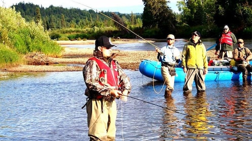 Fishing group in a river in Fairbanks