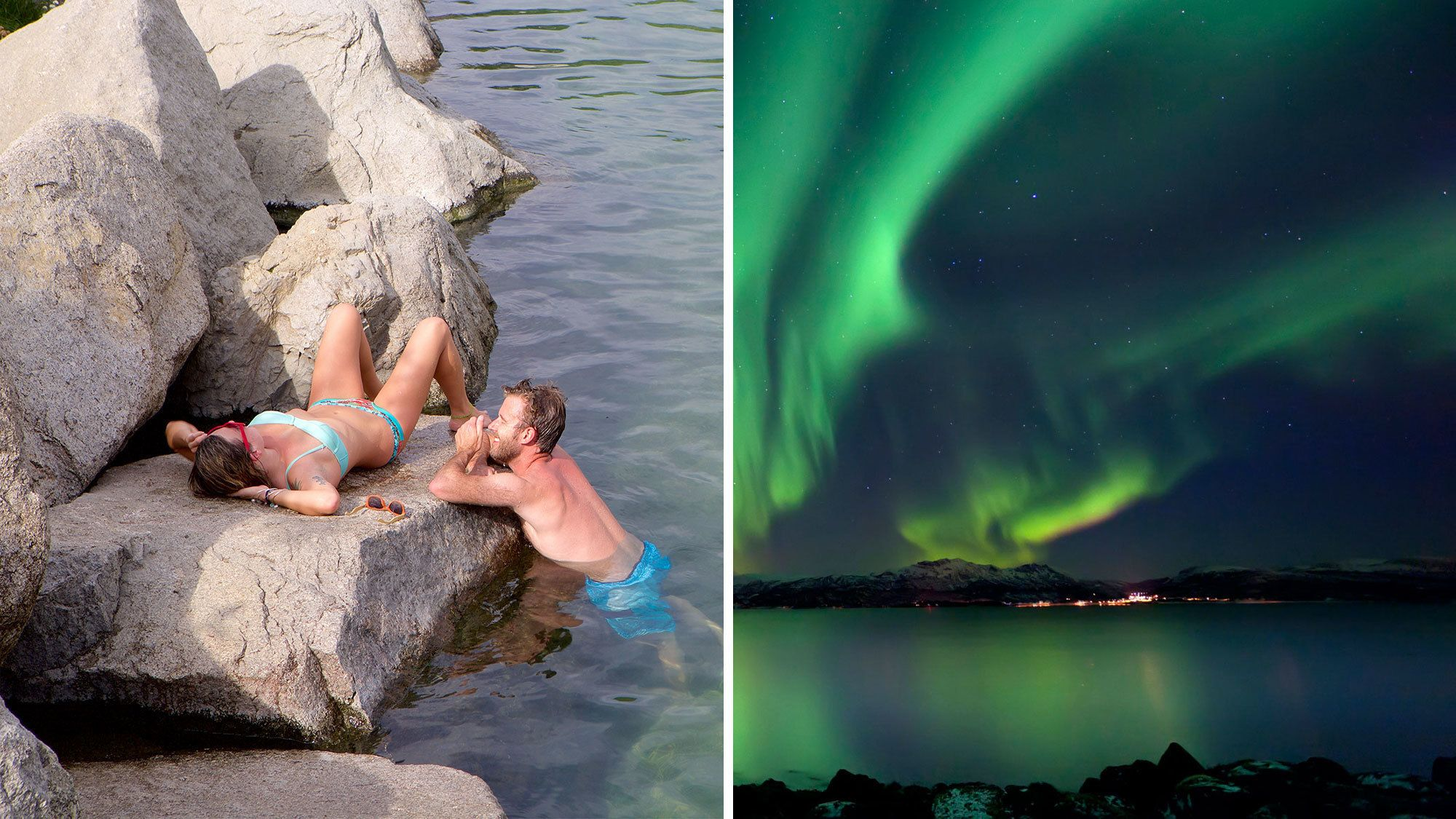 Split image of a couple in the Chena Hot Springs and the Northern Lights at night in Fairbanks