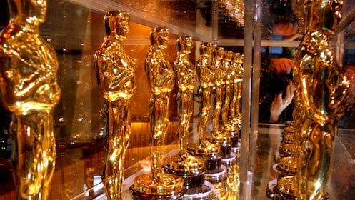 glass case full of oscar trophies in California