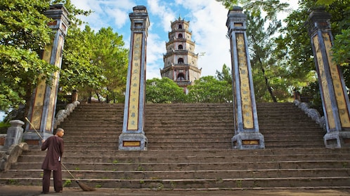 Steps leading to Pagoda in Vietnam