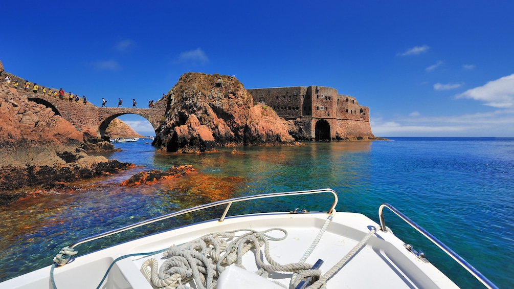 View of The Fort of São João Baptista in Portugal from a boat