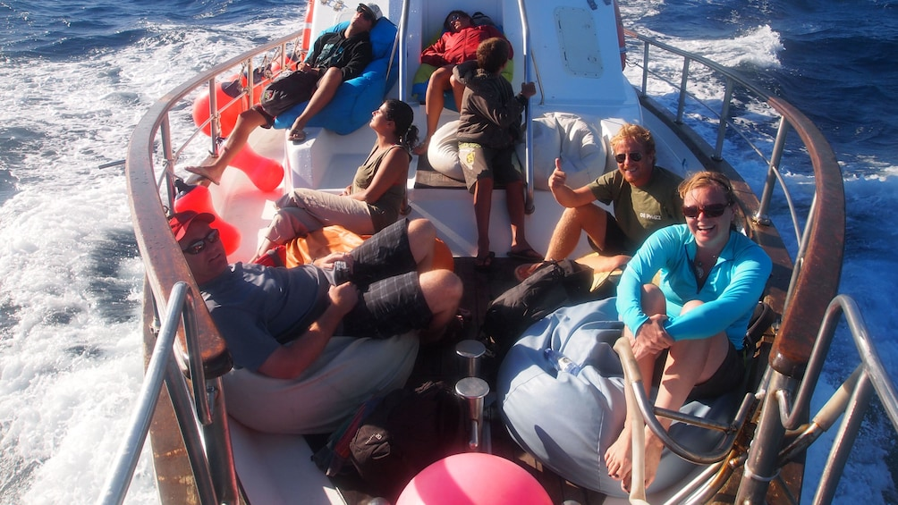 Group on a small boat in Berlengas Islands