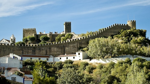 Castle on the hill over the town in Obidos