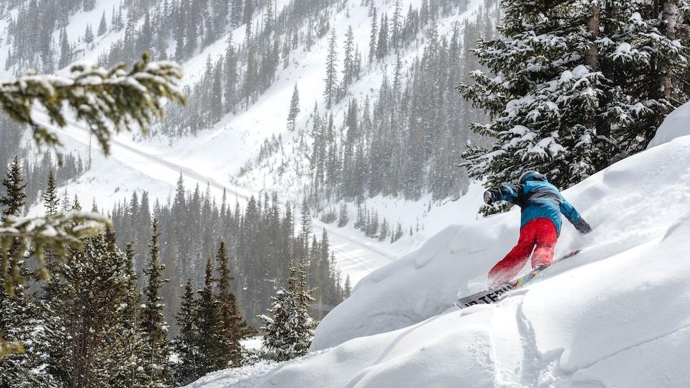 Cargar ítem 3 de 10. Snowboarding going down a hill in Colorado