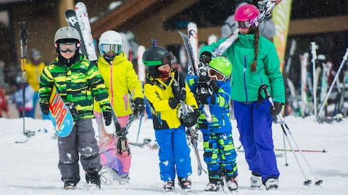 Group carrying rented skis