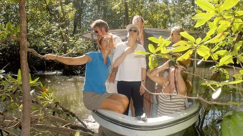 Tour group exploring sights and sounds on the Damas Island Mangrove tour in Costa Rica