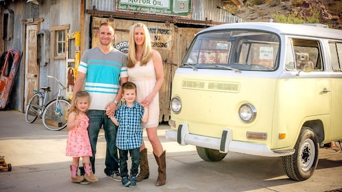family outside of an old mining town in Las Vegas