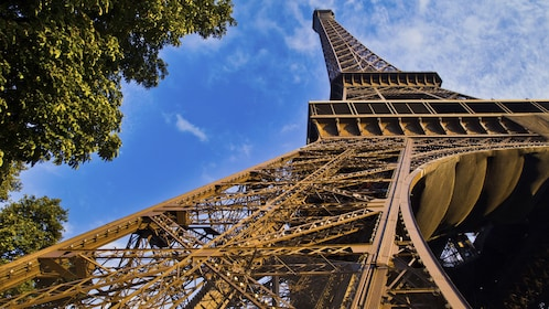 Daytime base view of the Eiffel Tower in Paris