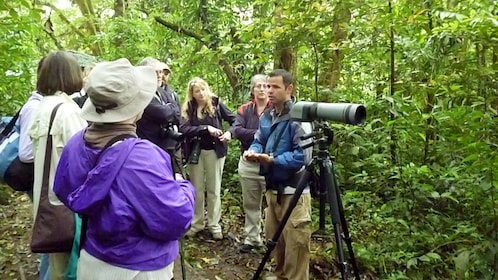 Tour guide with group at the Monteverde Cloud Forest Reserve in Costa Rica