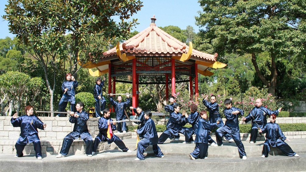 Locals practicing tai chi at the Chen Style Tai Chi Institute Of Hong Kong