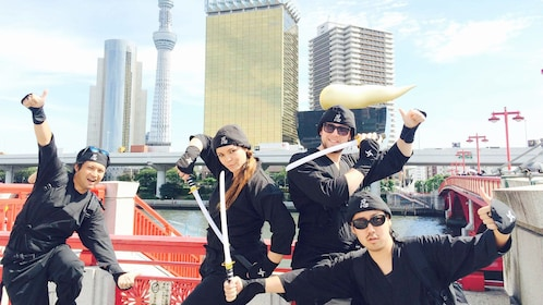 Group standing in the city on the sakusa Tour with Ninja Experience in Tokyo