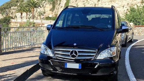 van transportation parked along the road in Sorrento