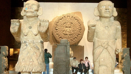 Ancient sculptures in a museum in Mexico City