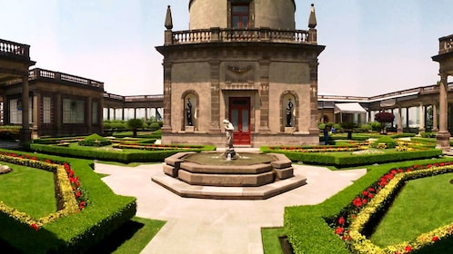 Garden and sculptures at Chapultepec Castle in Mexico City