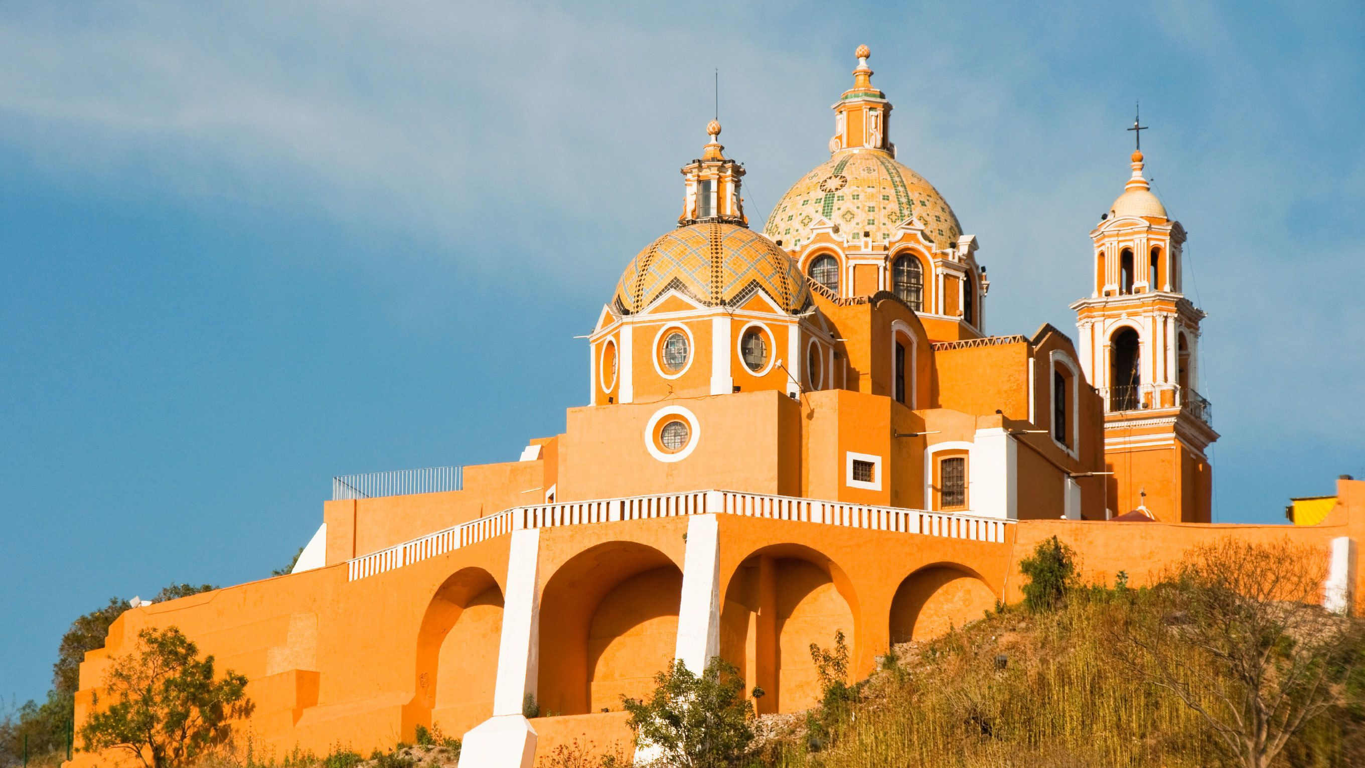 Day view of Cholula, Puebla in Mexico