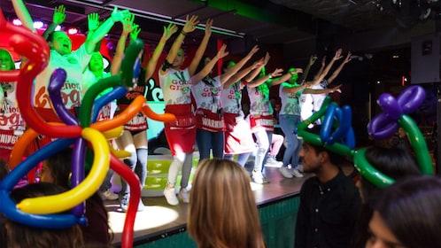 Staff dancing at Senor Frog's Drag Brunch Miami