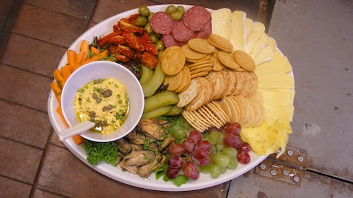 Plate of appetizers on Bay of Islands cruise in New Zealand.