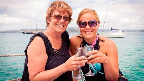 Mom and daughter on Bay of Island cruise in New Zealand.