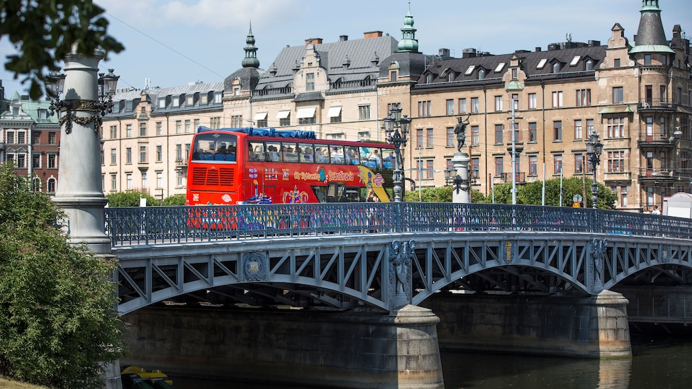 Hop-on hop-off bus on a bridge in Stockholm