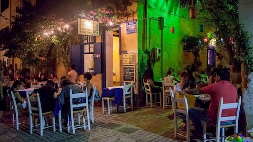 Outside dining at a restaurant on Chania