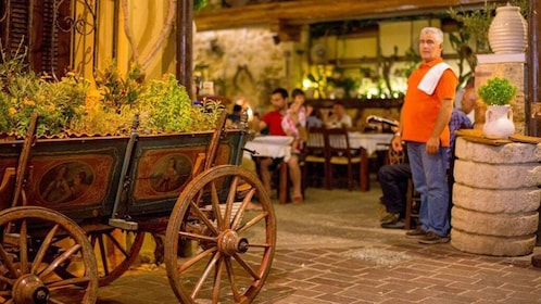 Wagon garden at a cafe in Chania