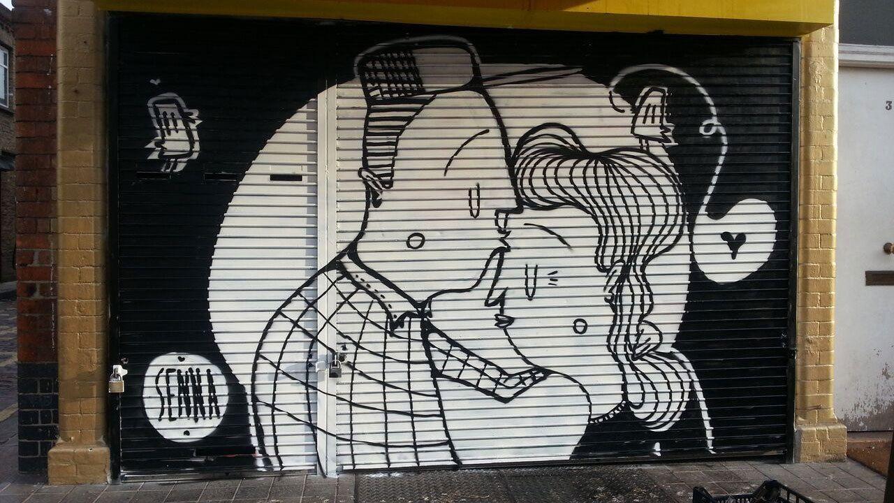 Black and white graffiti mural in London