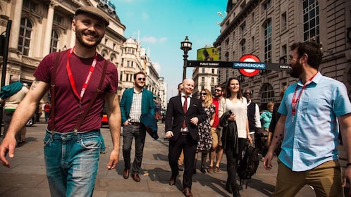 Tour group walking along the street in London