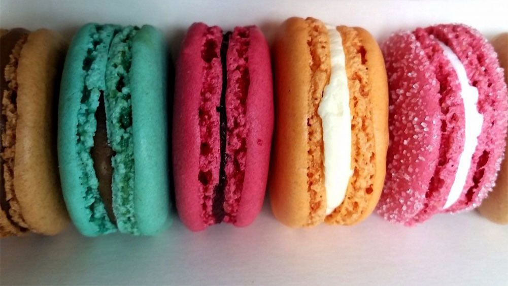 Row of colorful macarons in London