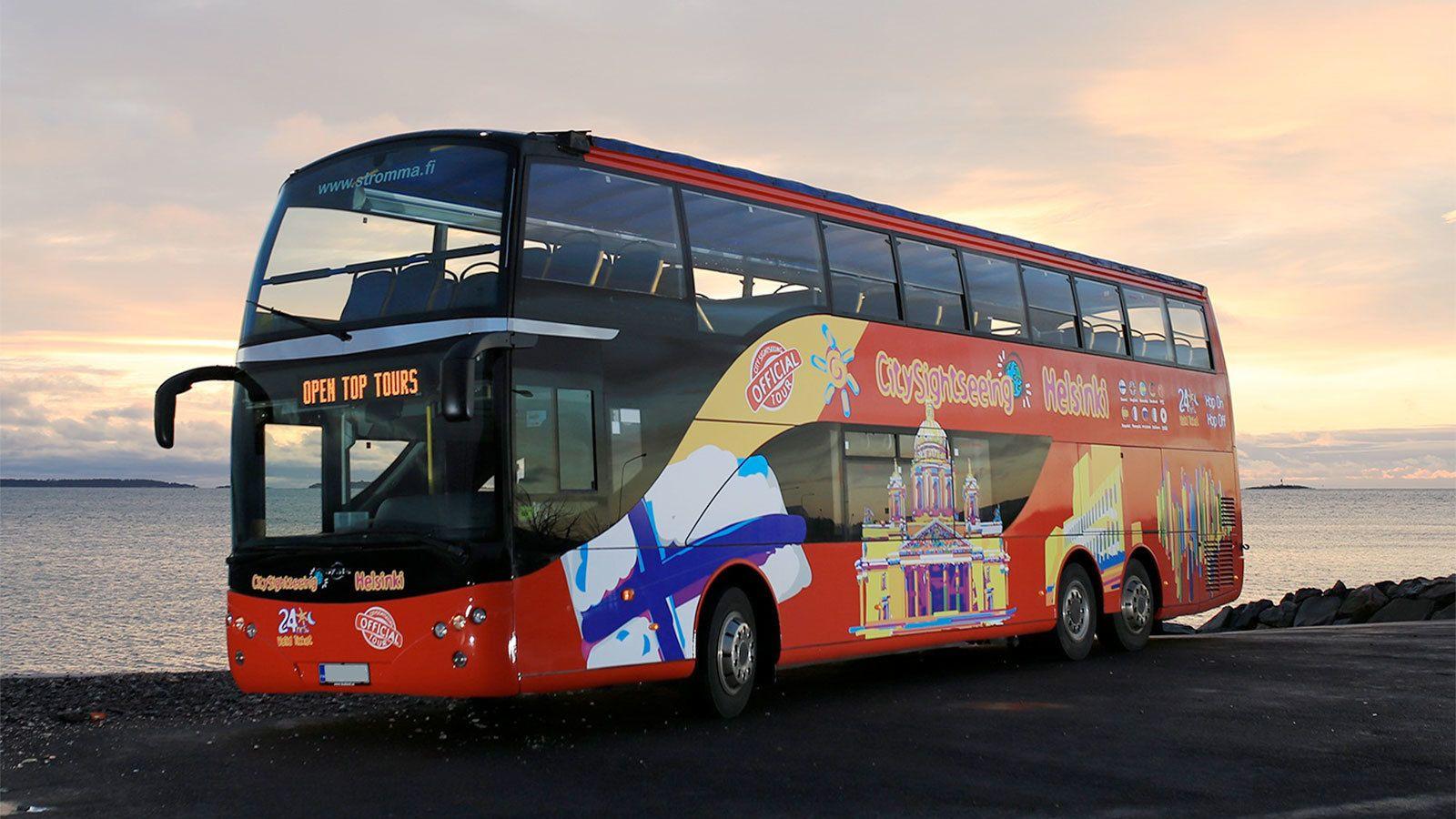 Tur med sightseeingbuss i Helsingfors