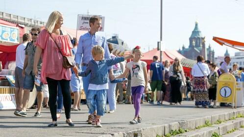 Family visiting Helsinki