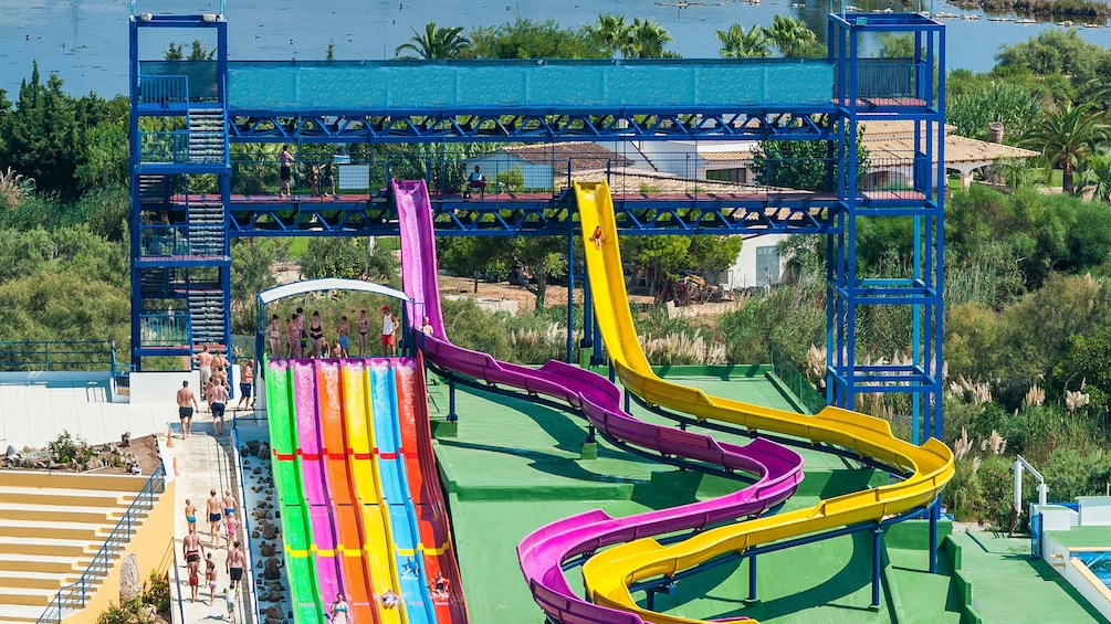 Colorful water slides at hidropark alcudia